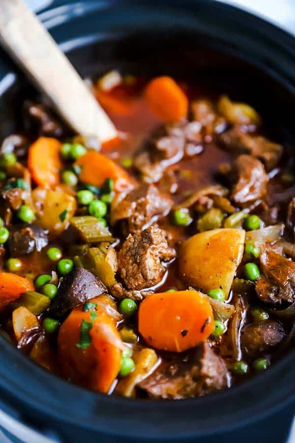 close up photo of beef stew in a crock pot