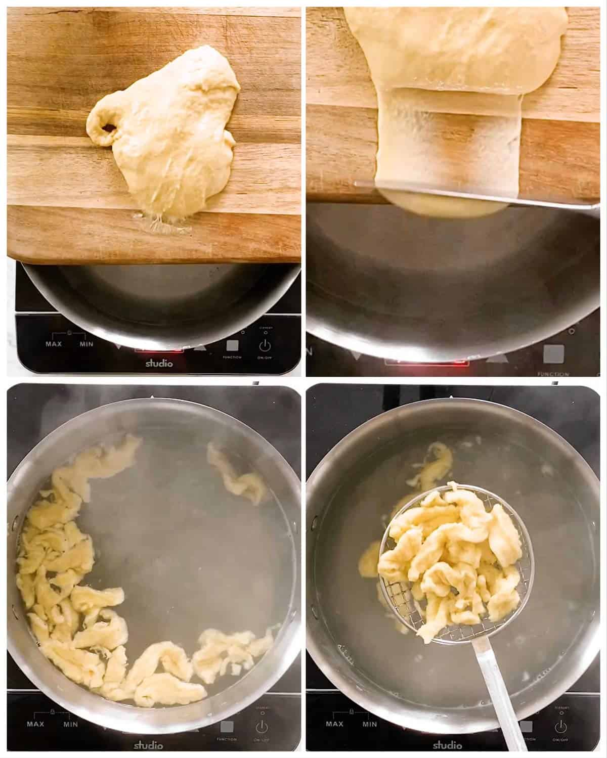 photo collage to show how to make German spaetzle