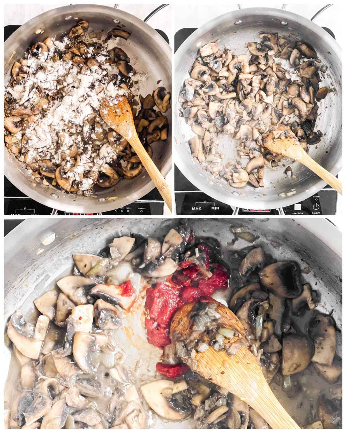 photo collage to show how to season sautéed mushrooms