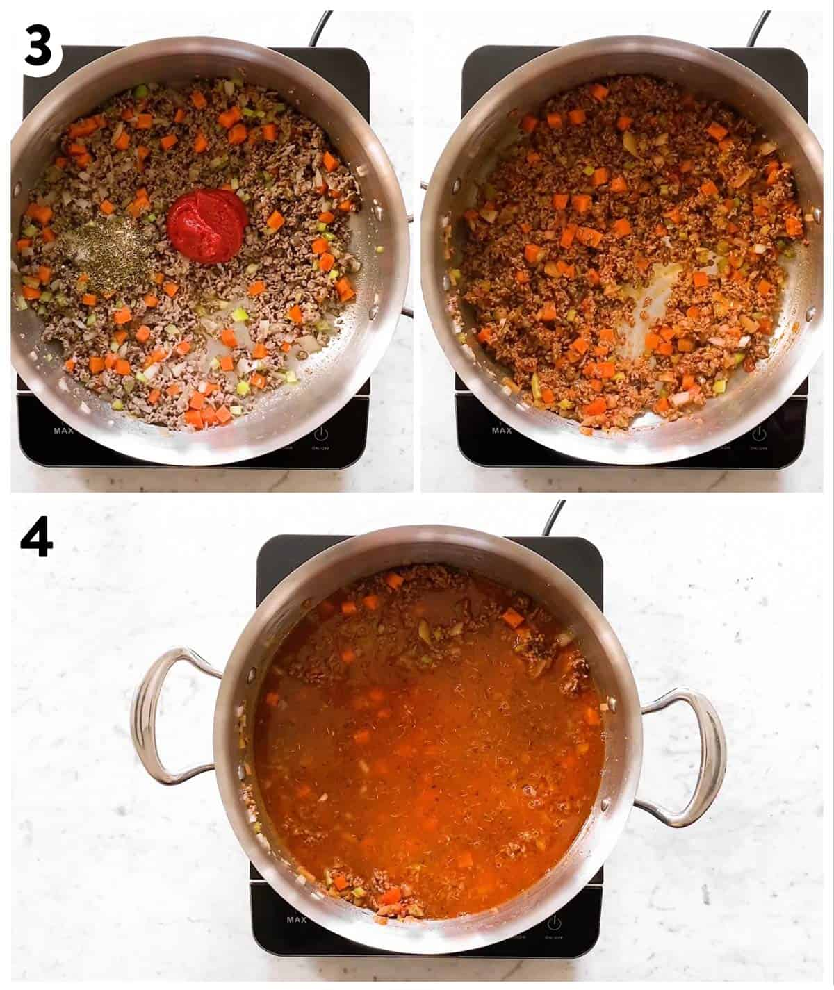 photo collage to show how to make sauce for Rigatoni Bolognese