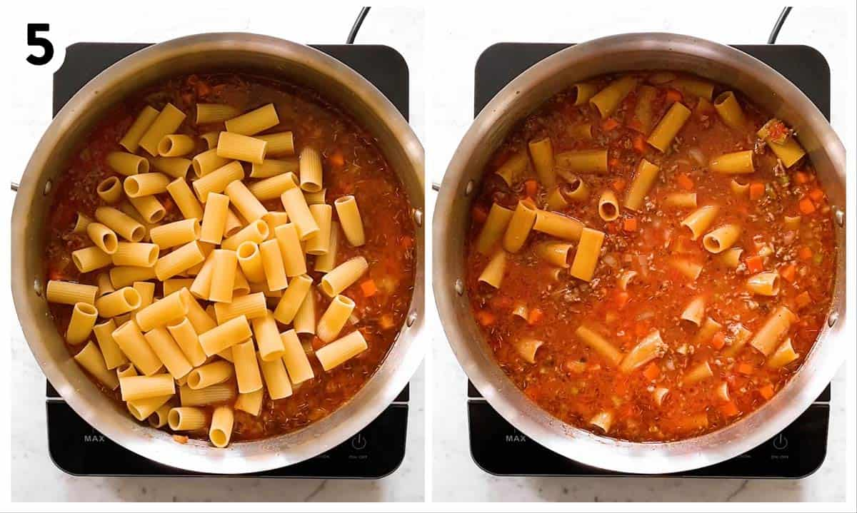 photo collage to show uncooked rigatoni in bolognese sauce