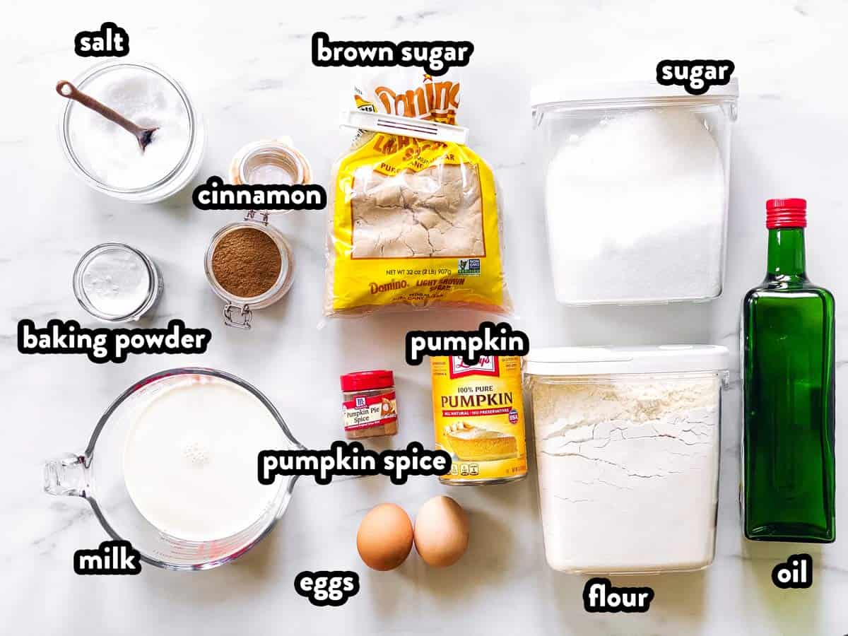 ingredients for pumpkin pancakes on a counter
