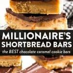 "photo collage of millionaire's shortbread bars with text overlay ""millionaire's shortbread bars"""