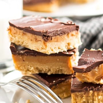 close up photo of a stack of millionaire's shortbread bars
