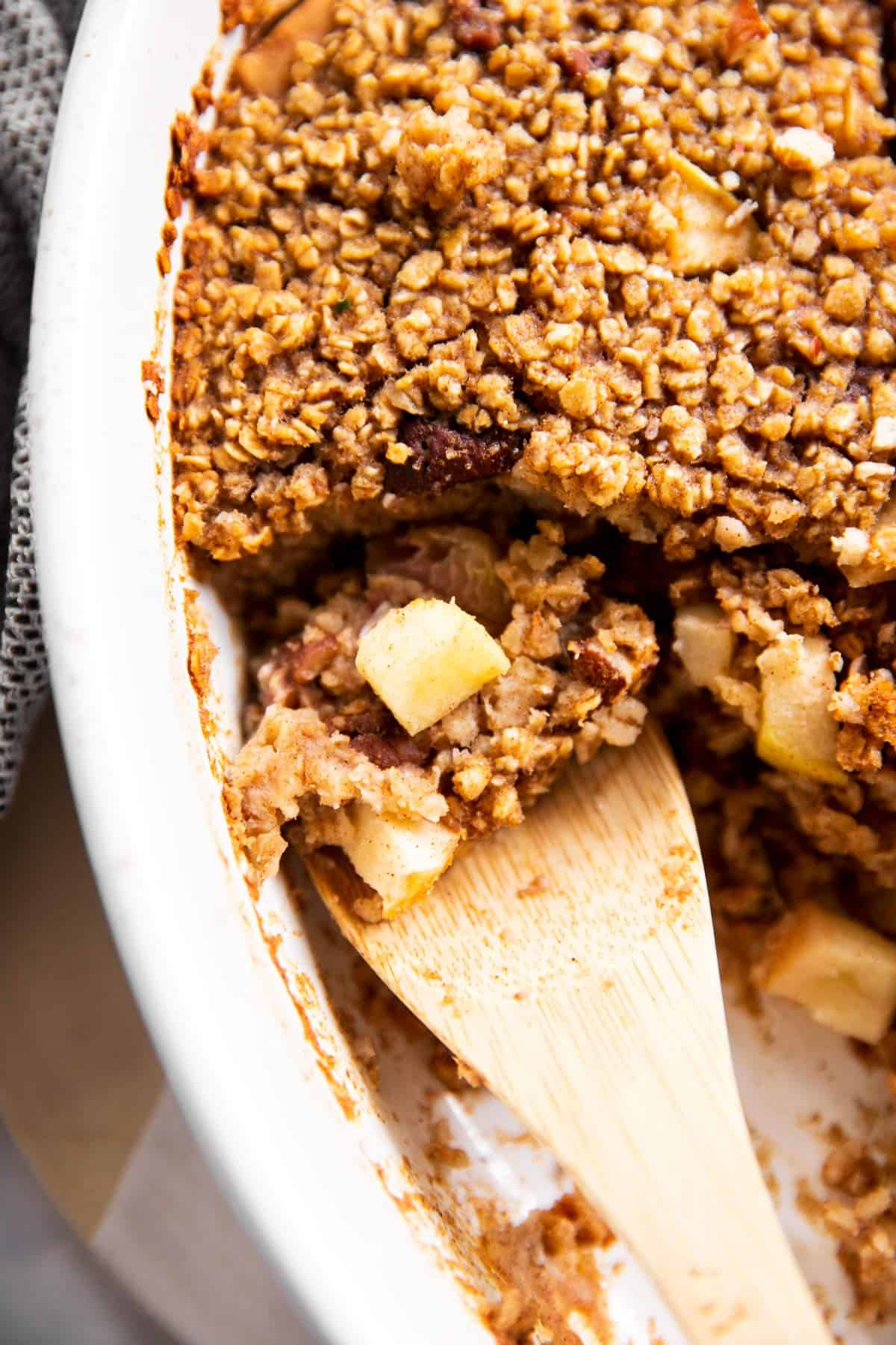 close up of apple baked oatmeal