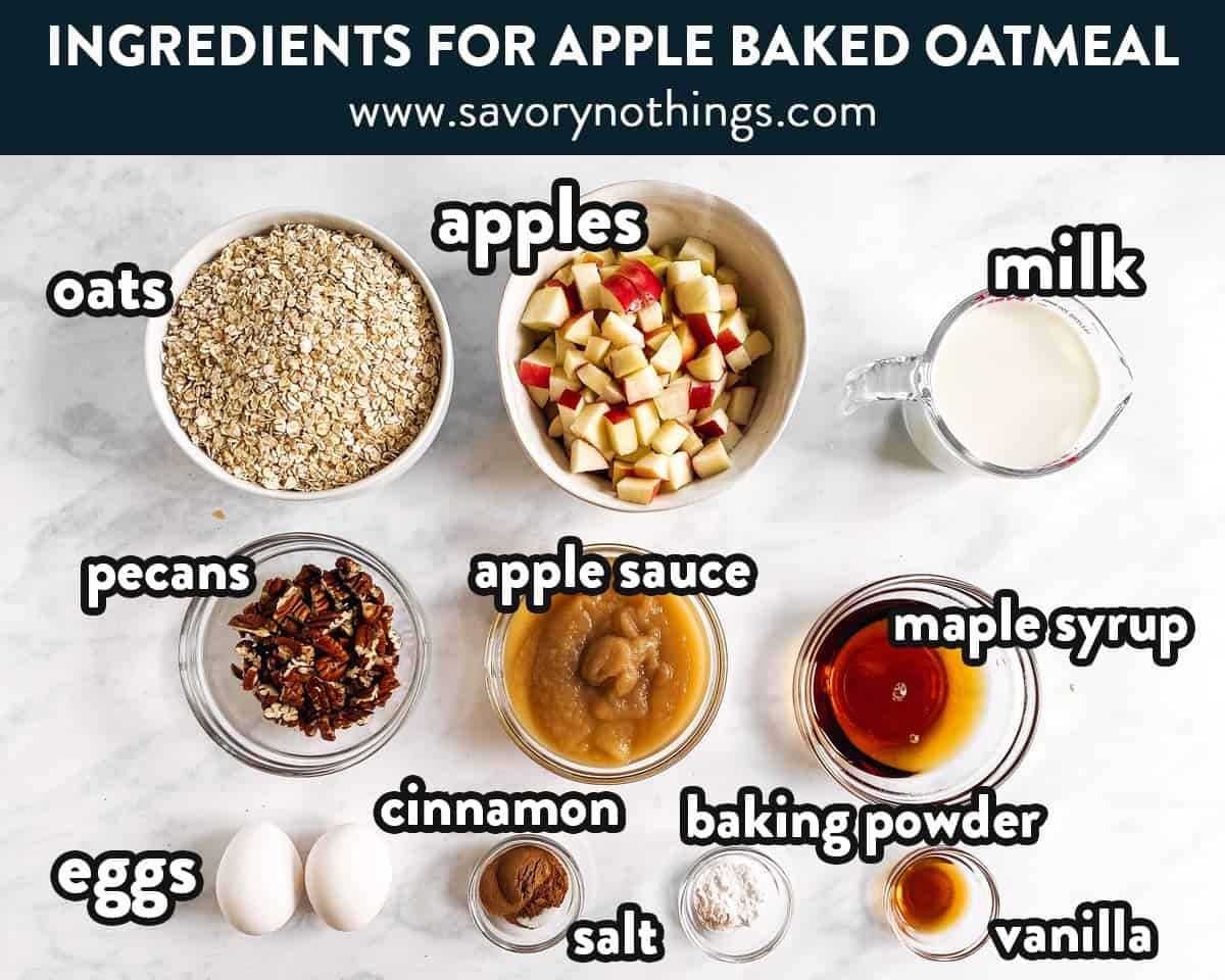 ingredients for apple baked oatmeal with text labels