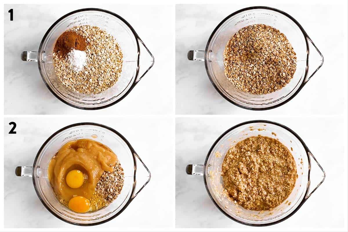 photo collage to show how to combine ingredients for baked oatmeal