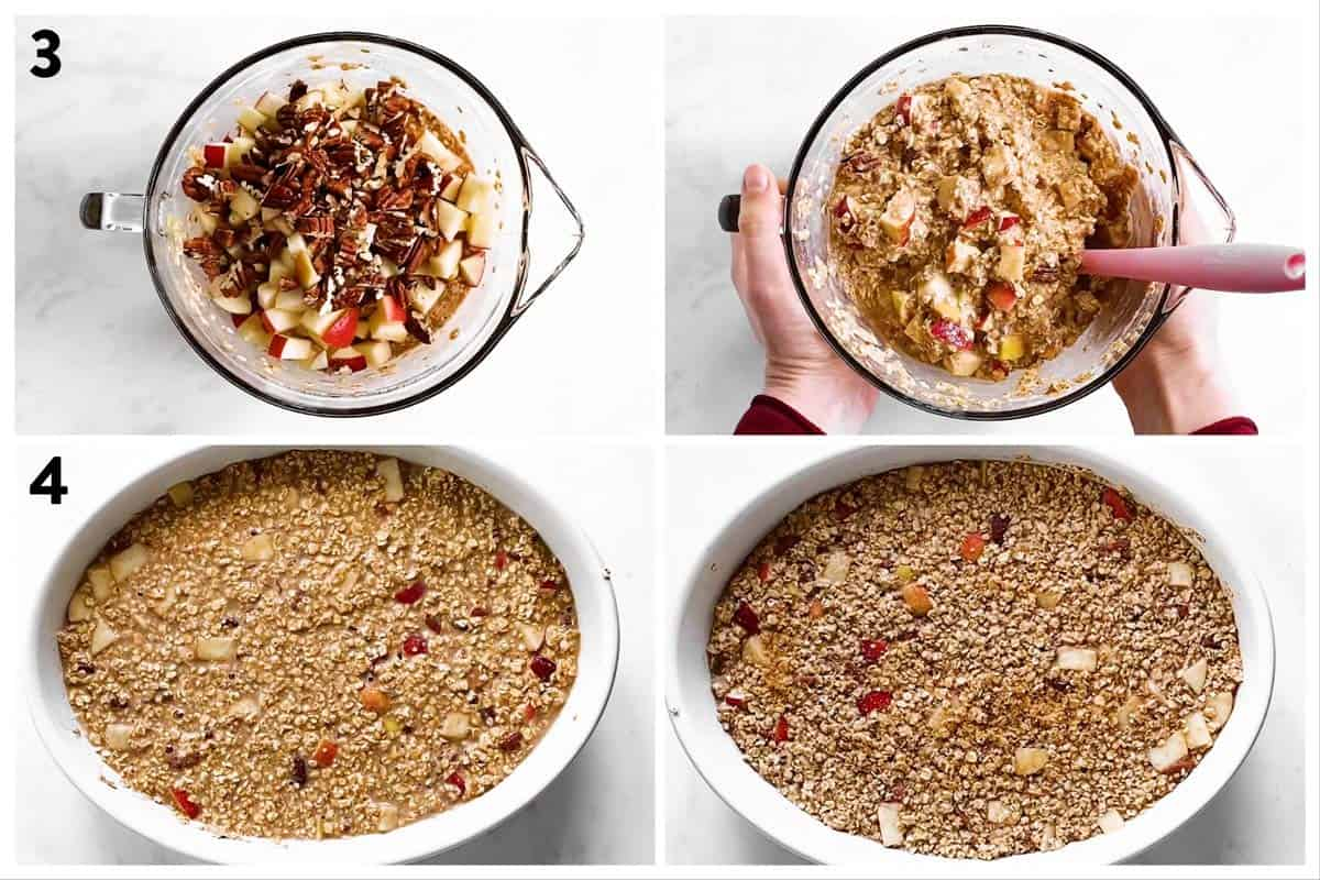 photo collage to show how to assemble apple baked oatmeal in a casserole dish