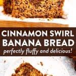 image collage of cinnamon swirl banana bread