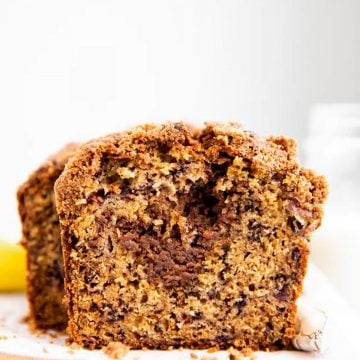 frontal view of sliced banana bread with cinnamon swirl