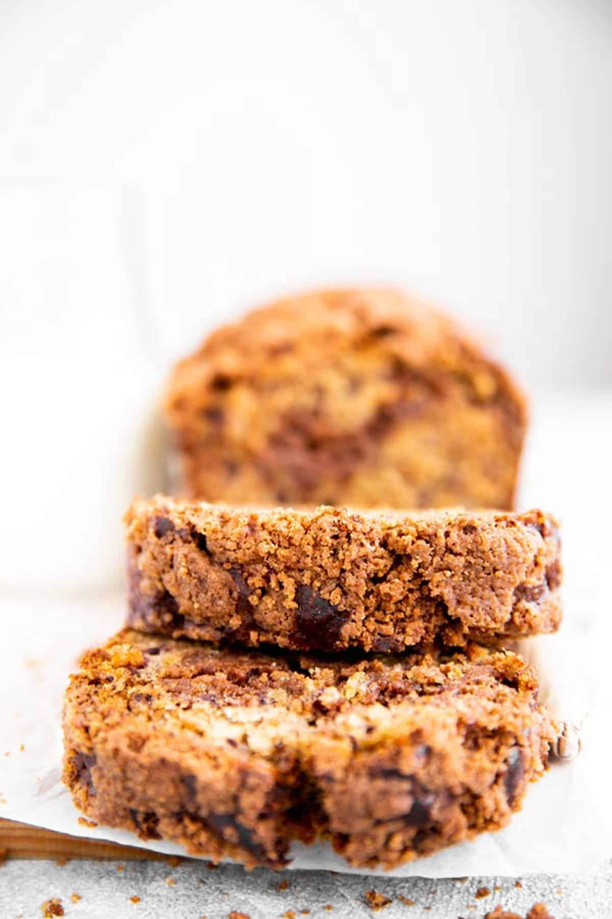 close up of streusel on a banana bread