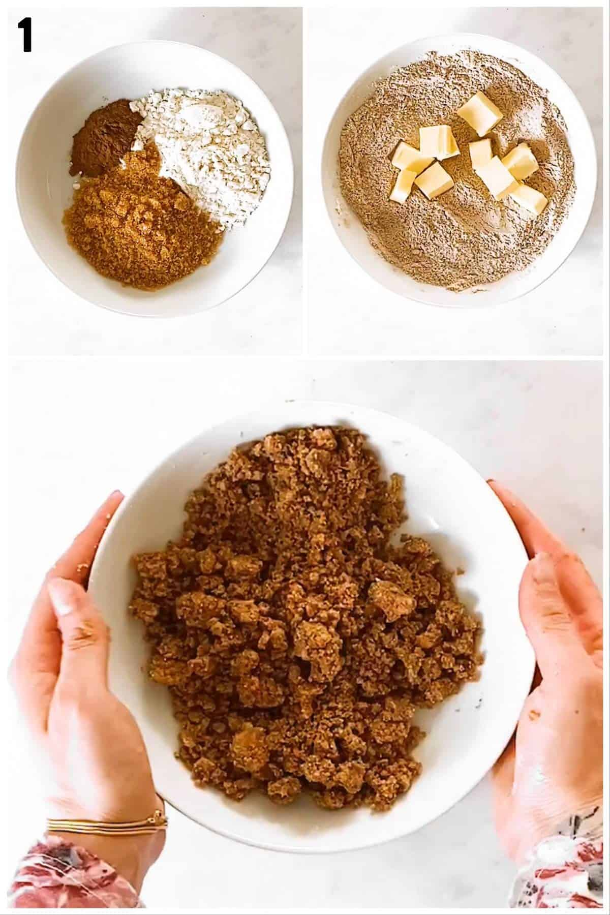 photo collage to show how to make a streusel topping