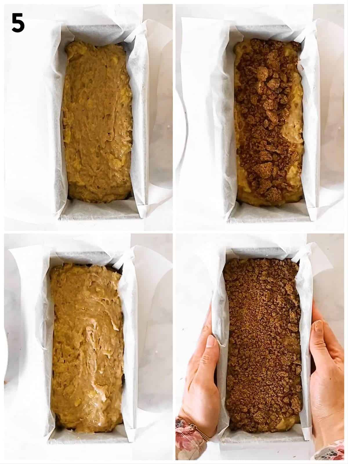photo collage to show how to assemble a cinnamon swirl banana bread