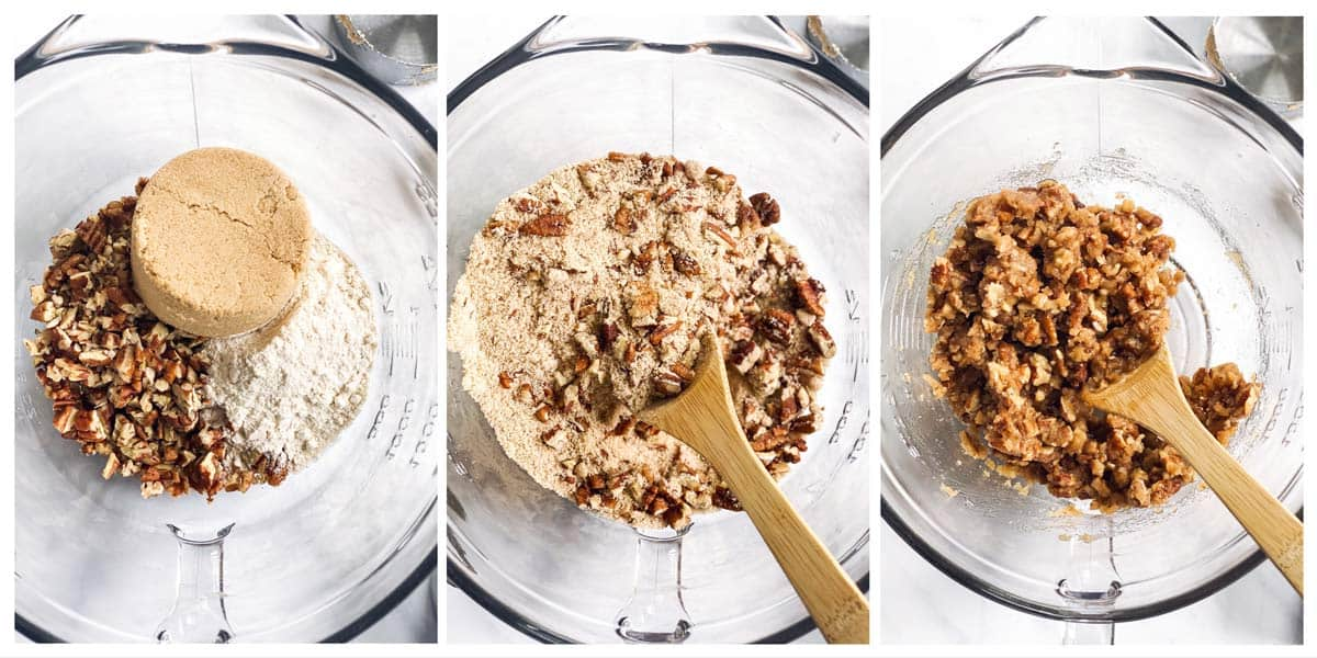 collage oh photos to show how to assemble the pecan praline topping