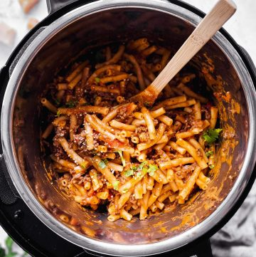 overhead view of instant pot with ziti