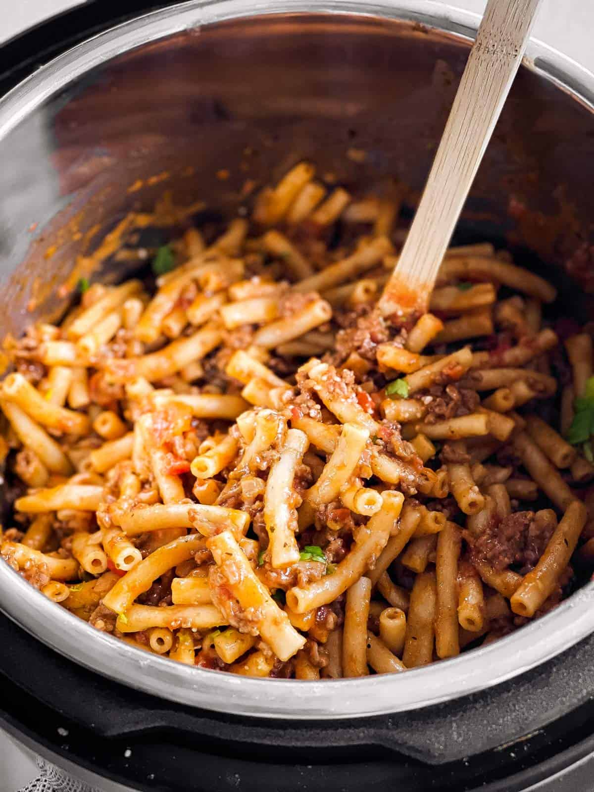 close up photo of baked ziti in instant pot