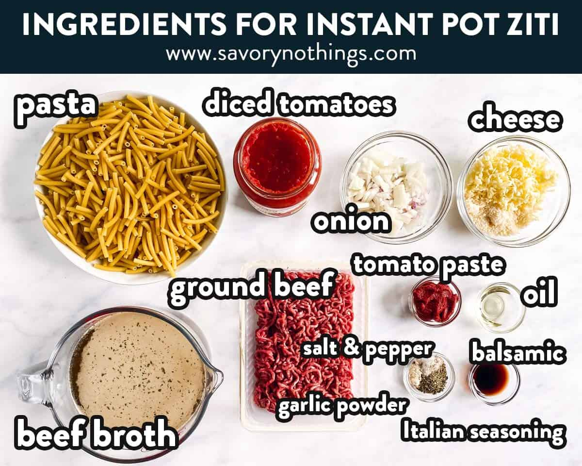 ingredients for instant pot baked ziti with text labels