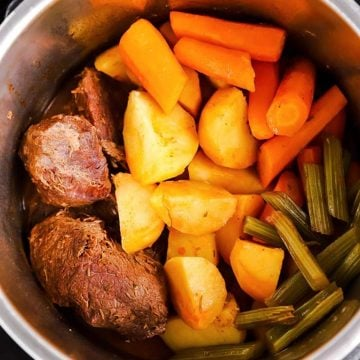 overhead view of pot roast in an instant pot