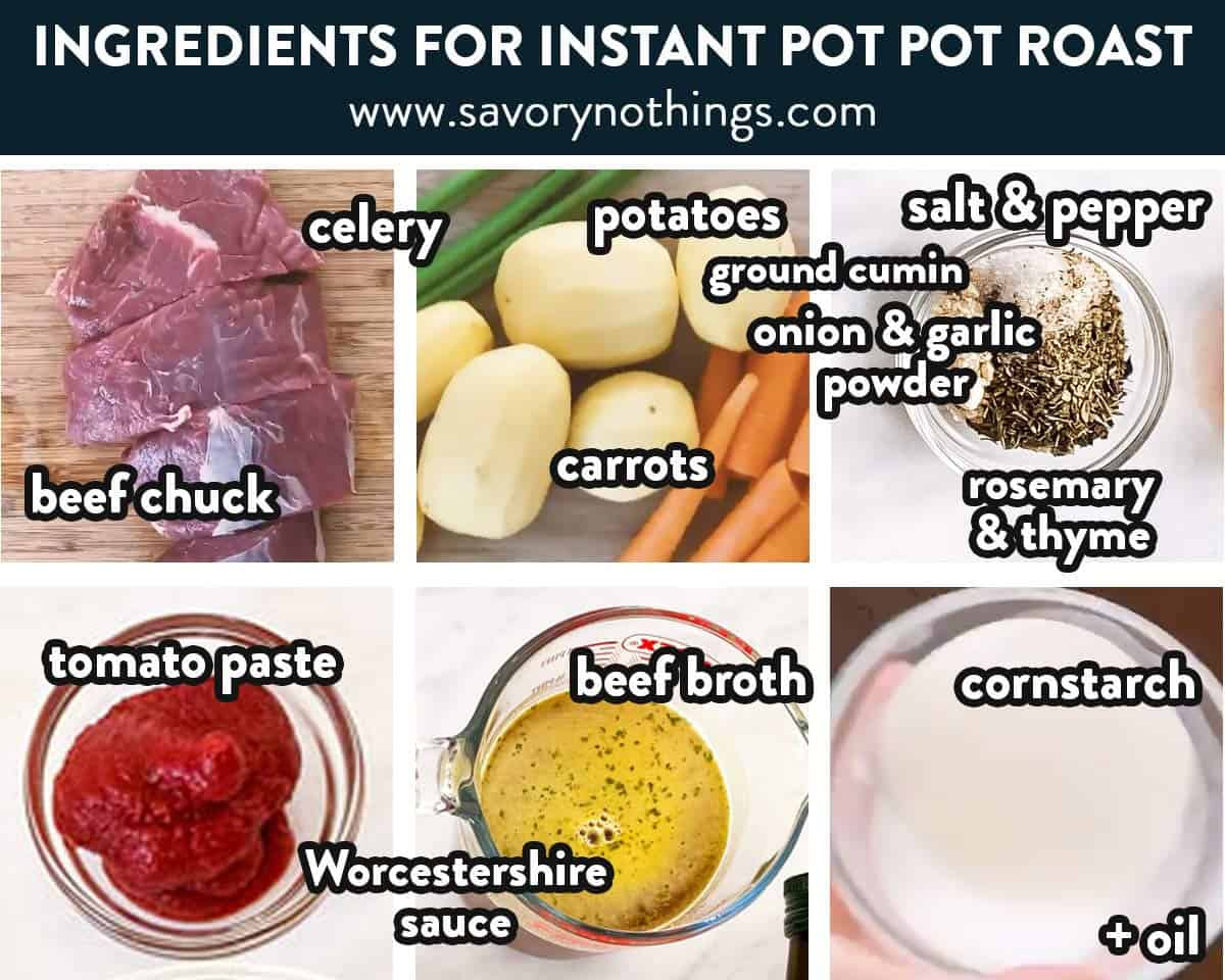 ingredients for instant pot pot roast with text labels