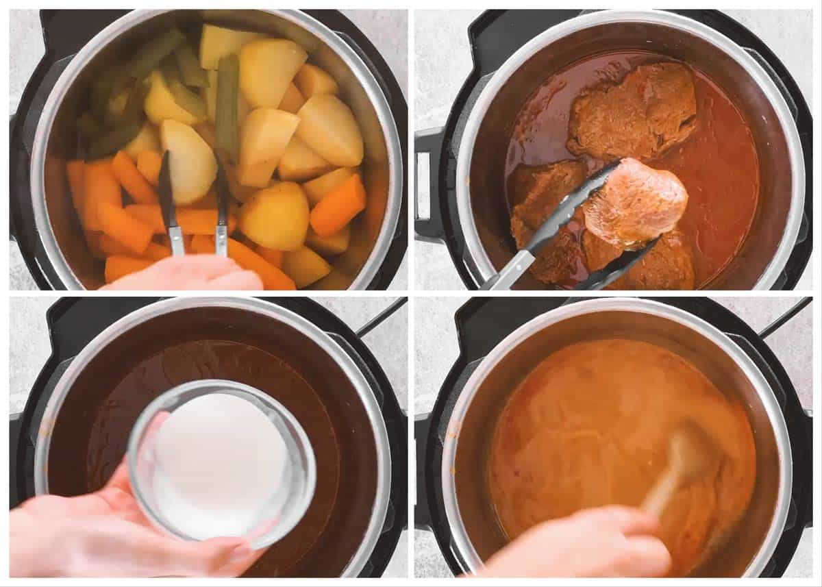 photo collage to show how to finish the gravy for a pot roast