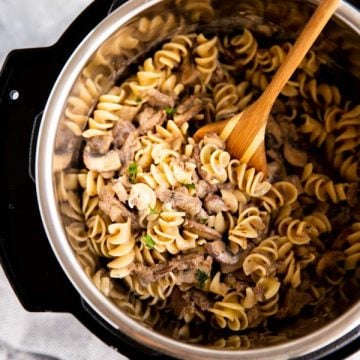 instant pot on the table with stroganoff