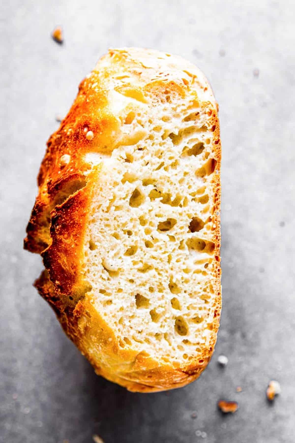 cut open bread