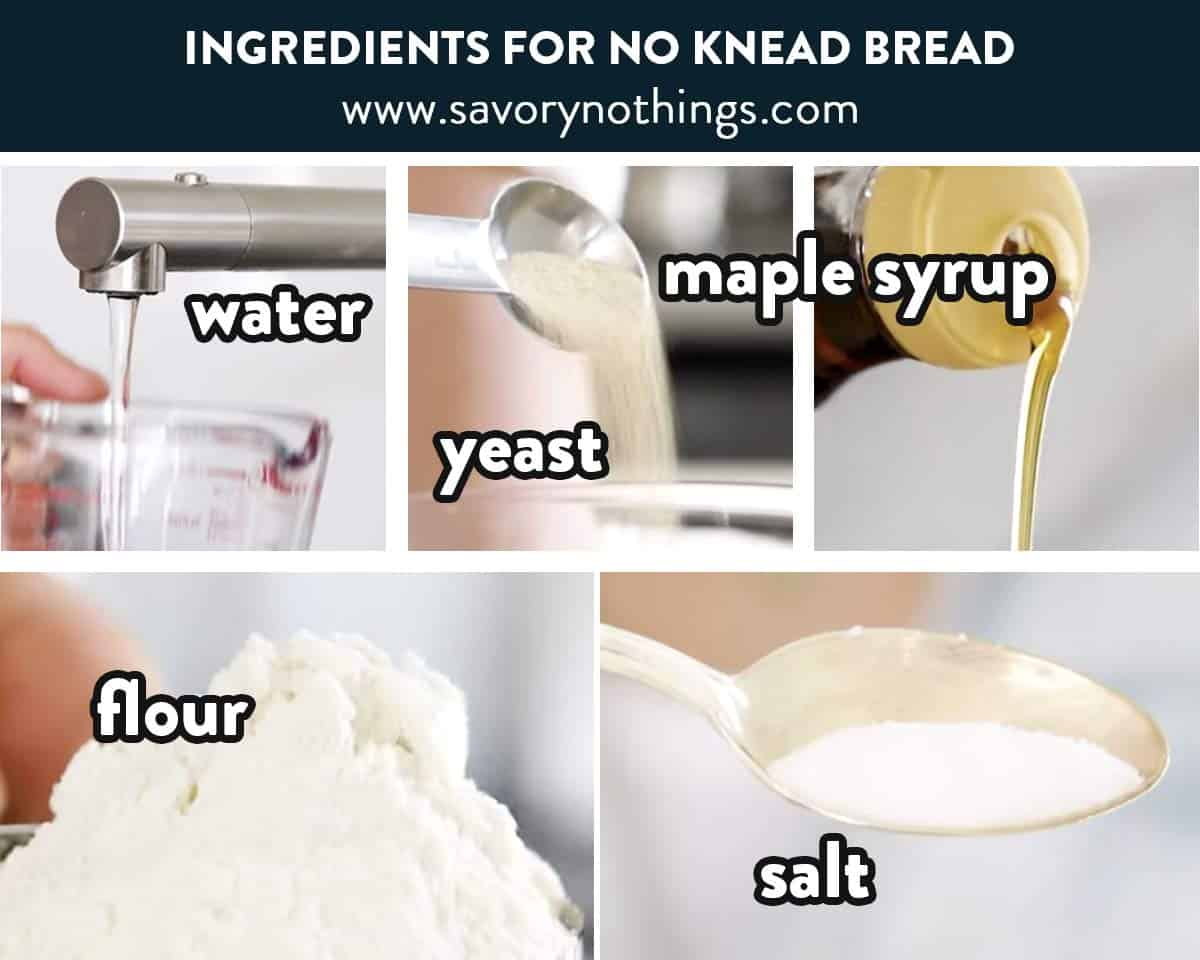 photo collage of no knead bread ingredients