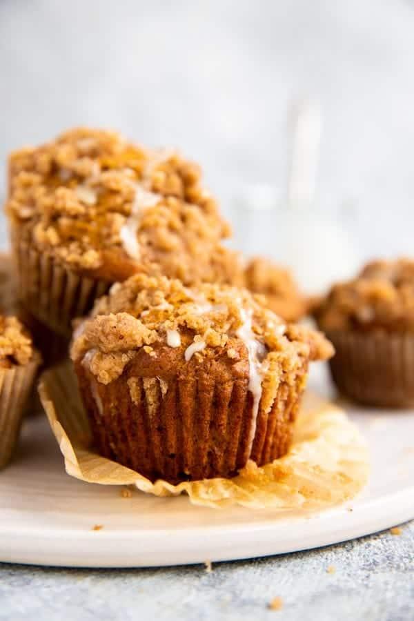 pumpkin crumb muffins on a serving platter