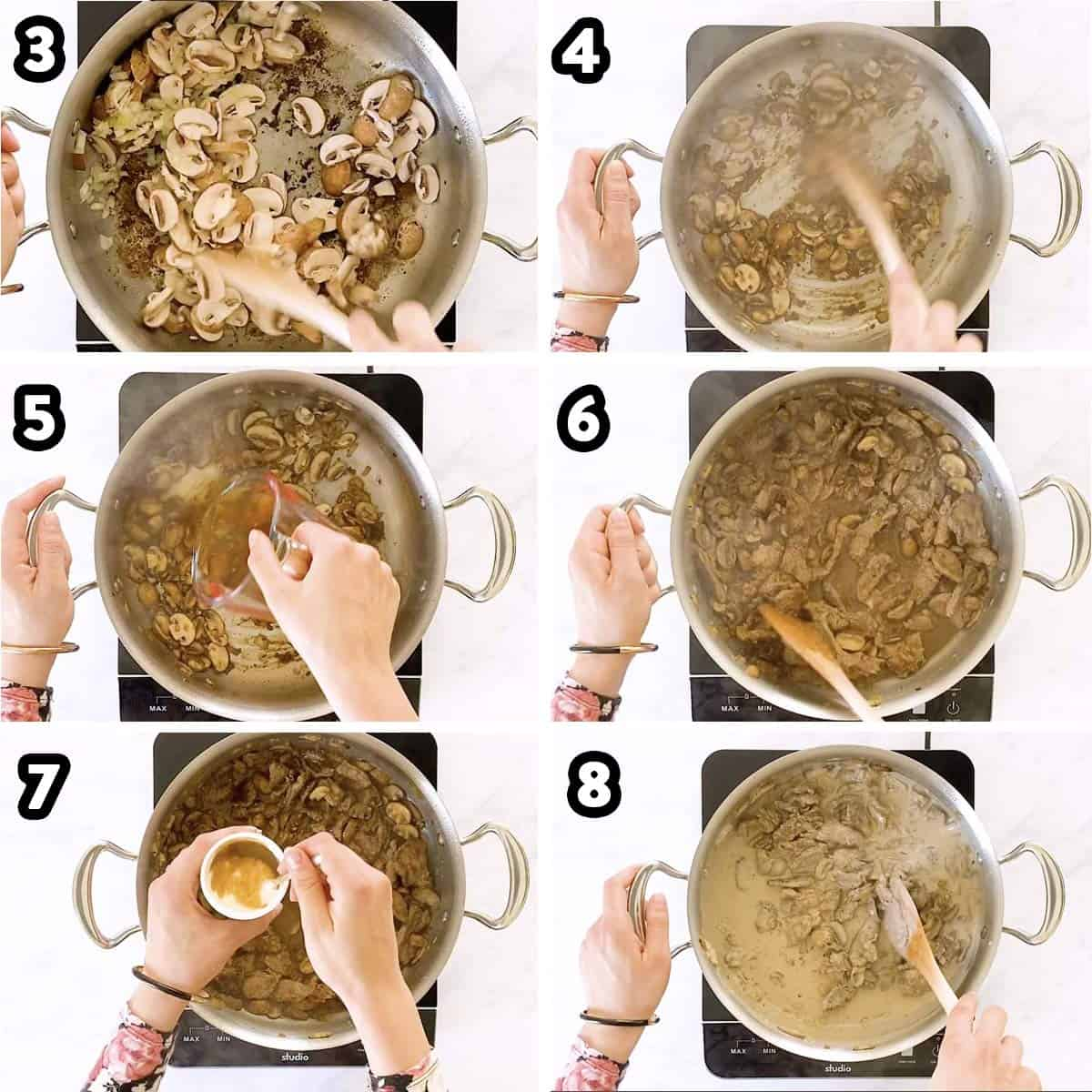 collage of photos to show making the gravy for stroganoff