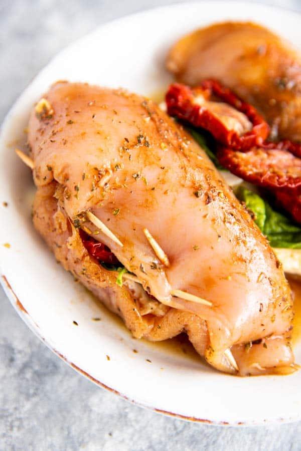 stuffed caprese chicken, uncooked