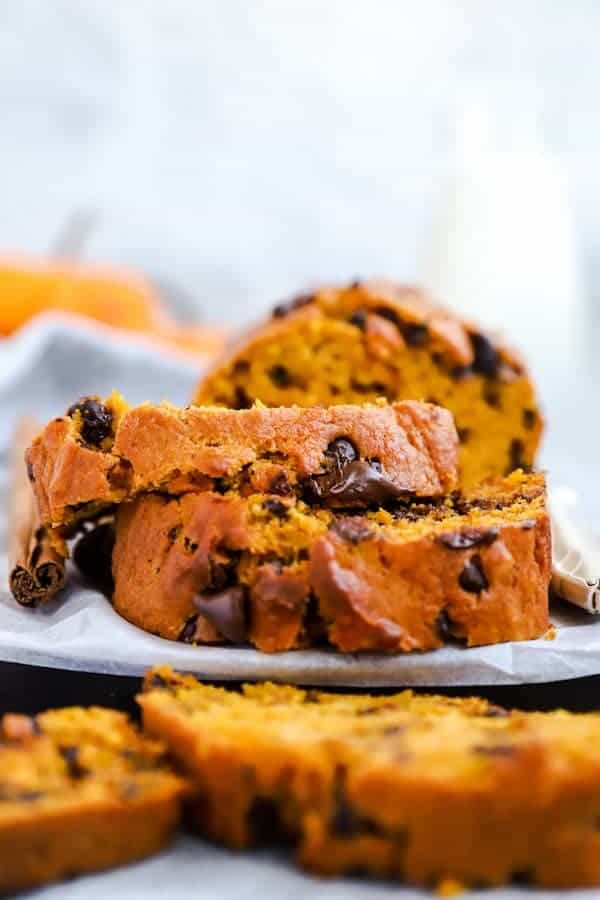 slices of pumpkin bread with chocolate chips on a wooden board