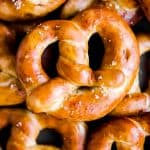 close up photo of homemade German soft pretzels