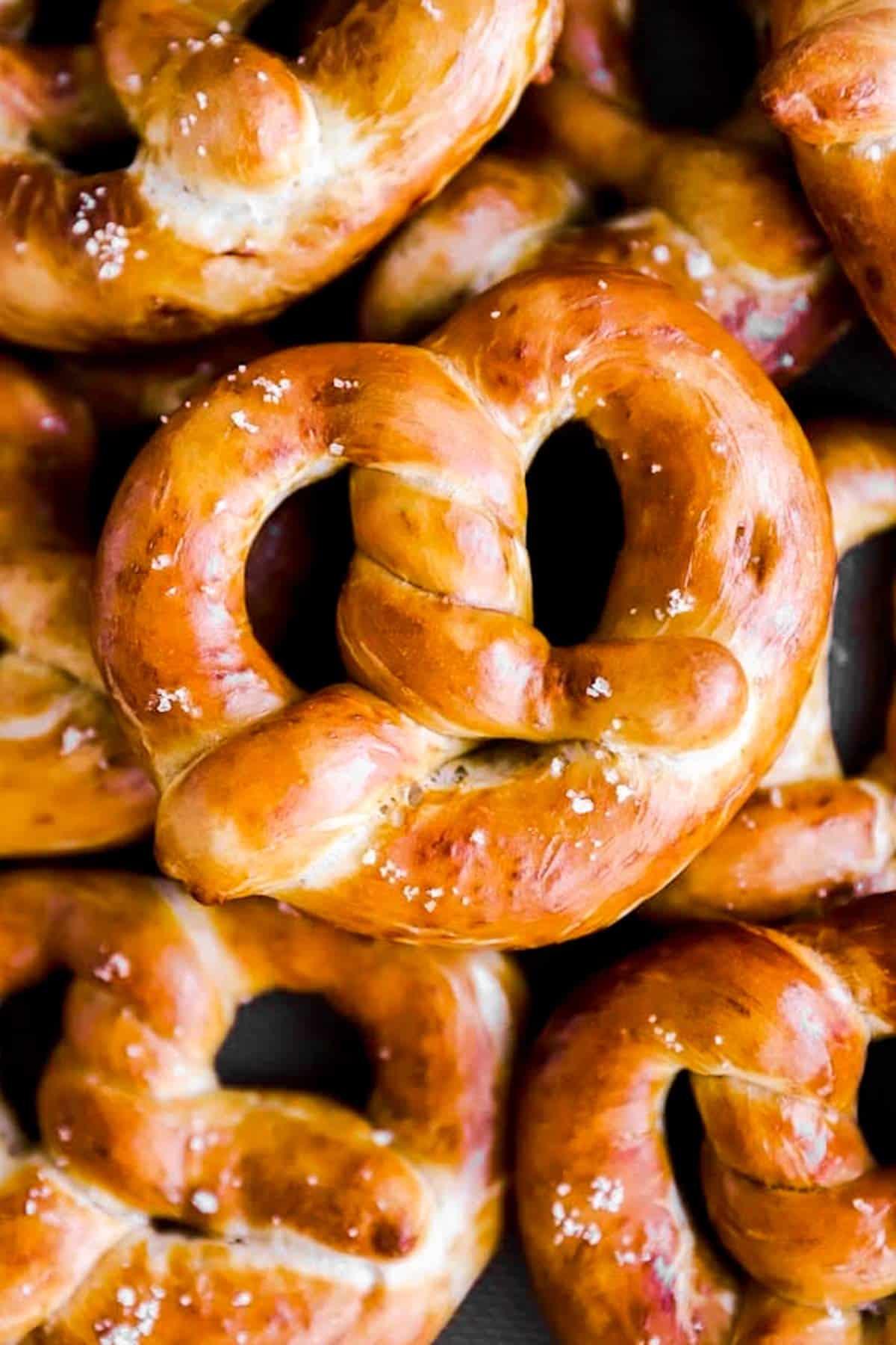 close up photo of homemade German soft pretzels