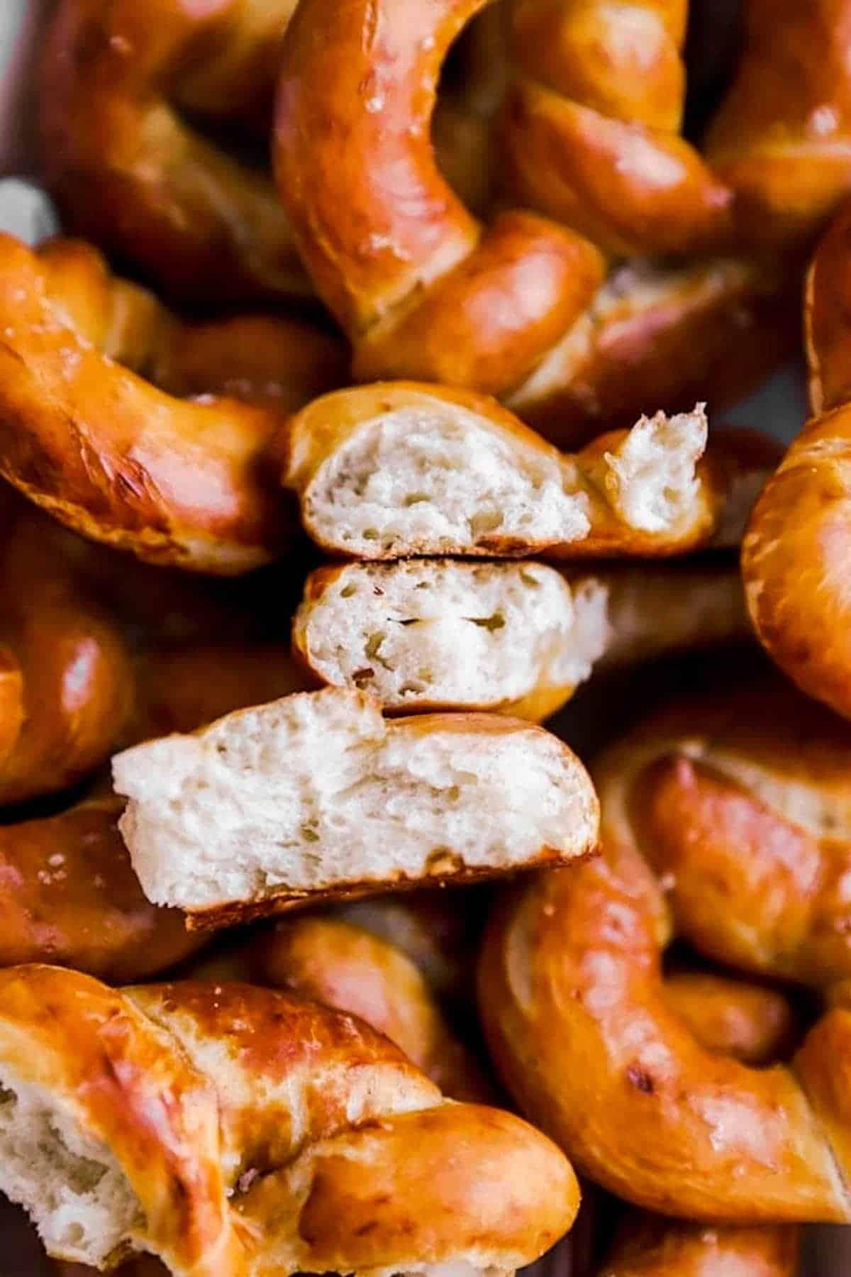 close up of halved soft pretzel