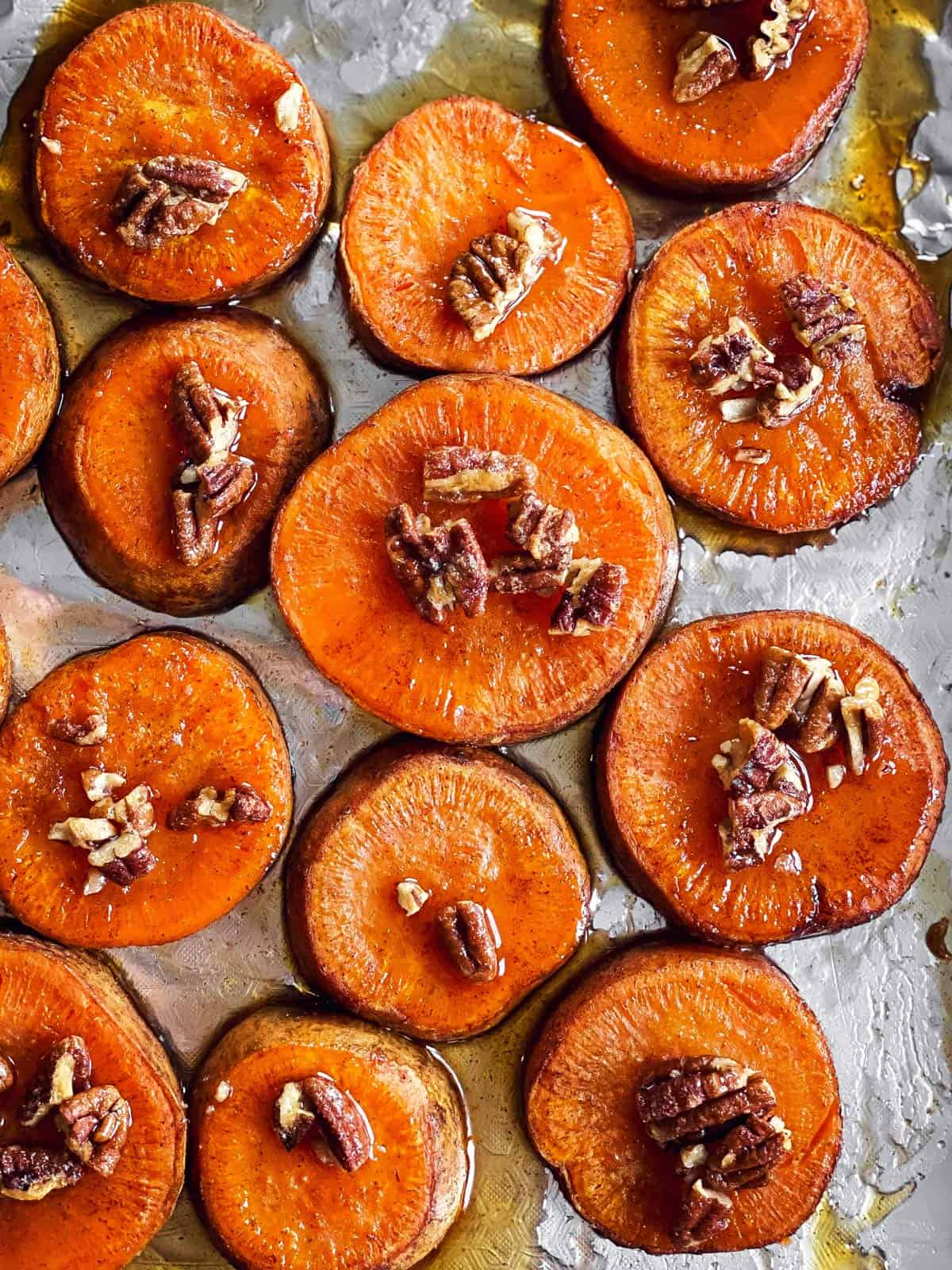 Maple Pecan Roasted Sweet Potato Slices Savory Nothings
