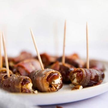 plate with bacon wrapped dates