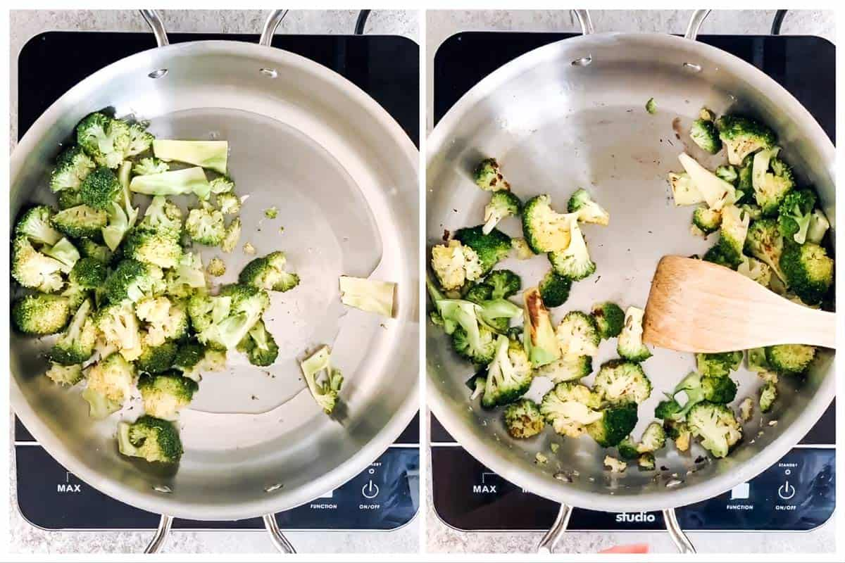 photo collage to show how to stir fry broccoli