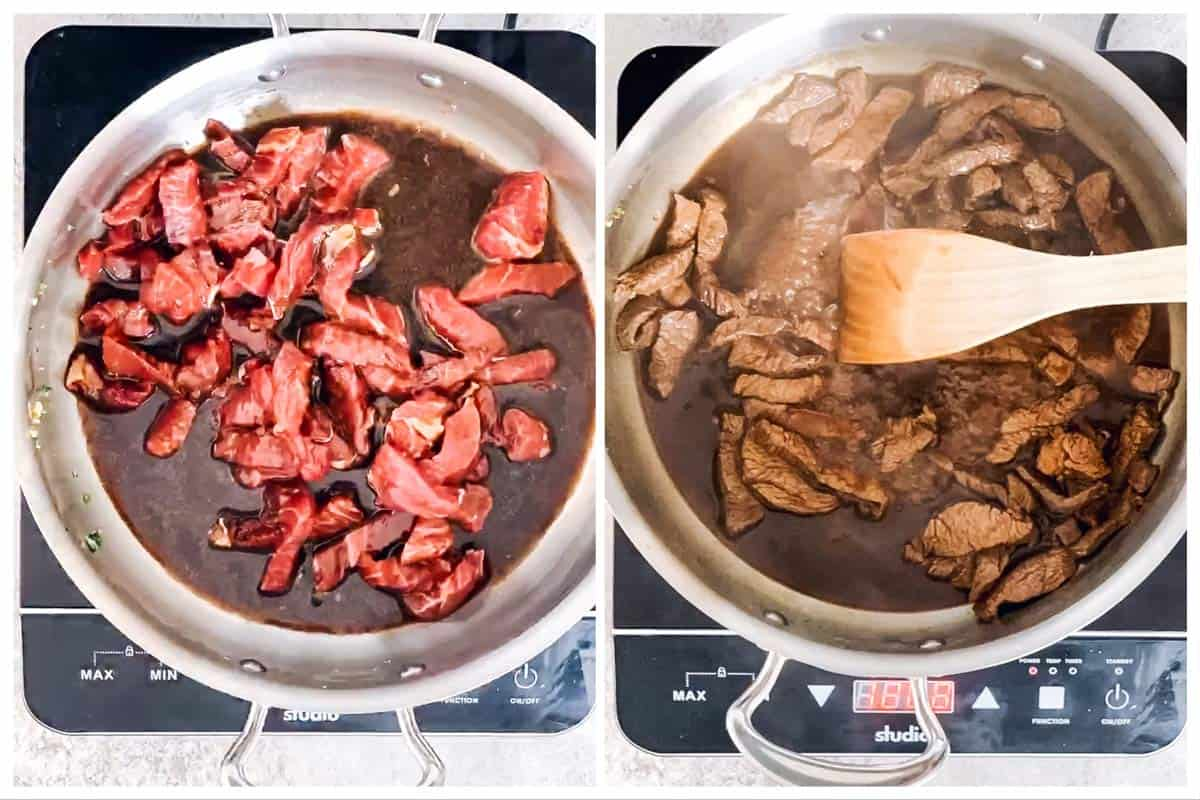 photo collage to show how to stir fry beef