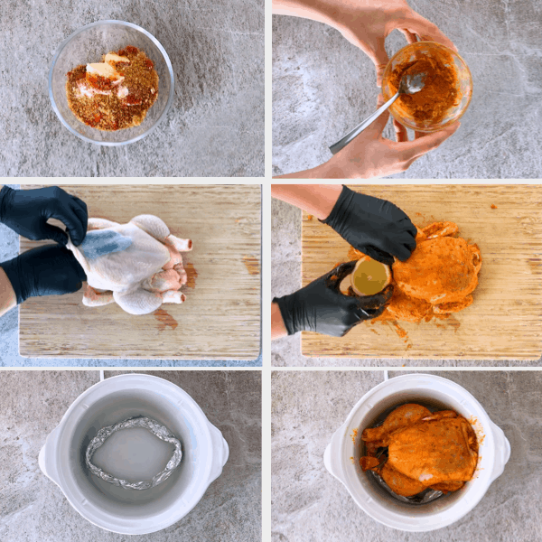 Step by step images for making a whole chicken I the crockpot