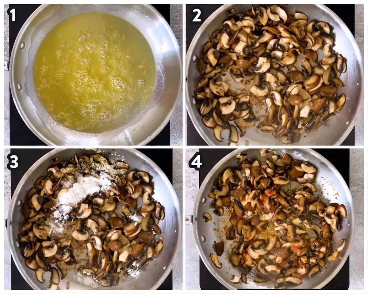 collage to show sautéing mushrooms