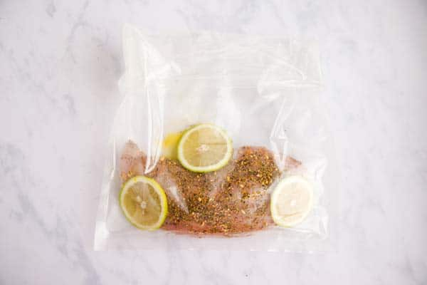 sous vide bag filled with turkey and lemon slices