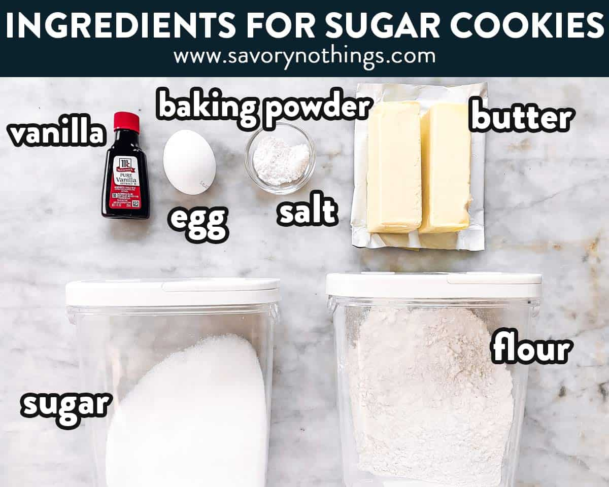 ingredients for sugar cookies with text labels