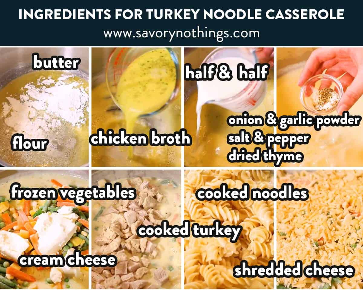 ingredients for turkey noodle casserole with text labels