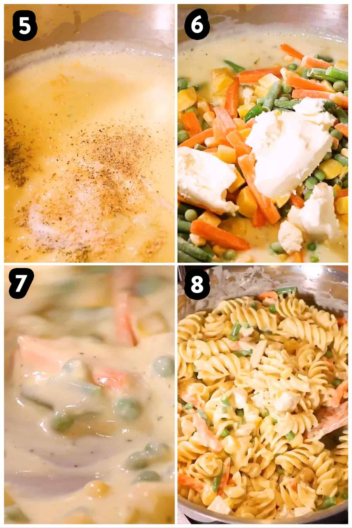 collage of photos to show preparing turkey and noodles