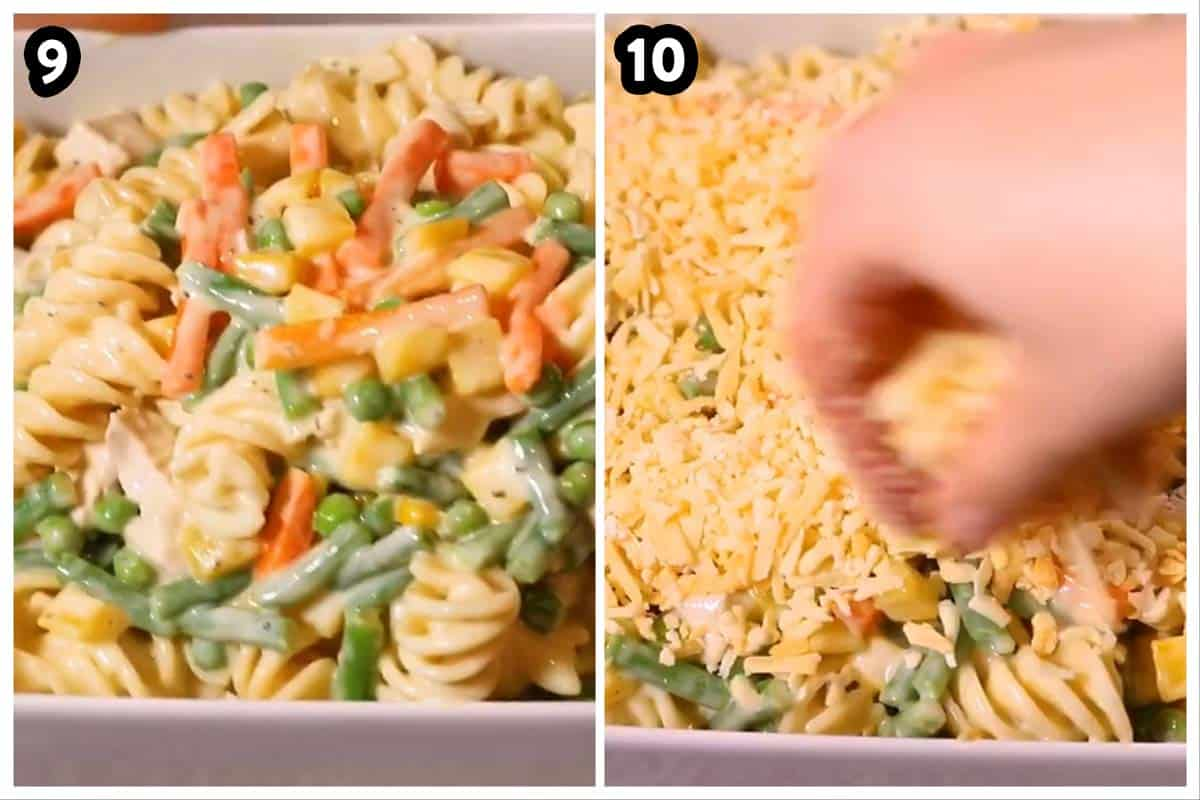 collage of photos to show assembly of a turkey and noodle bake