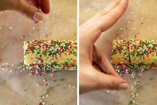 slicing pinwheel cookies with a piece of sewing thread
