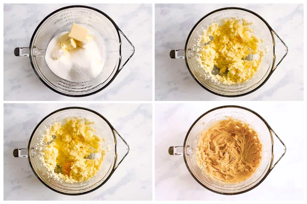 photo collage to show how to make sugar cookie dough