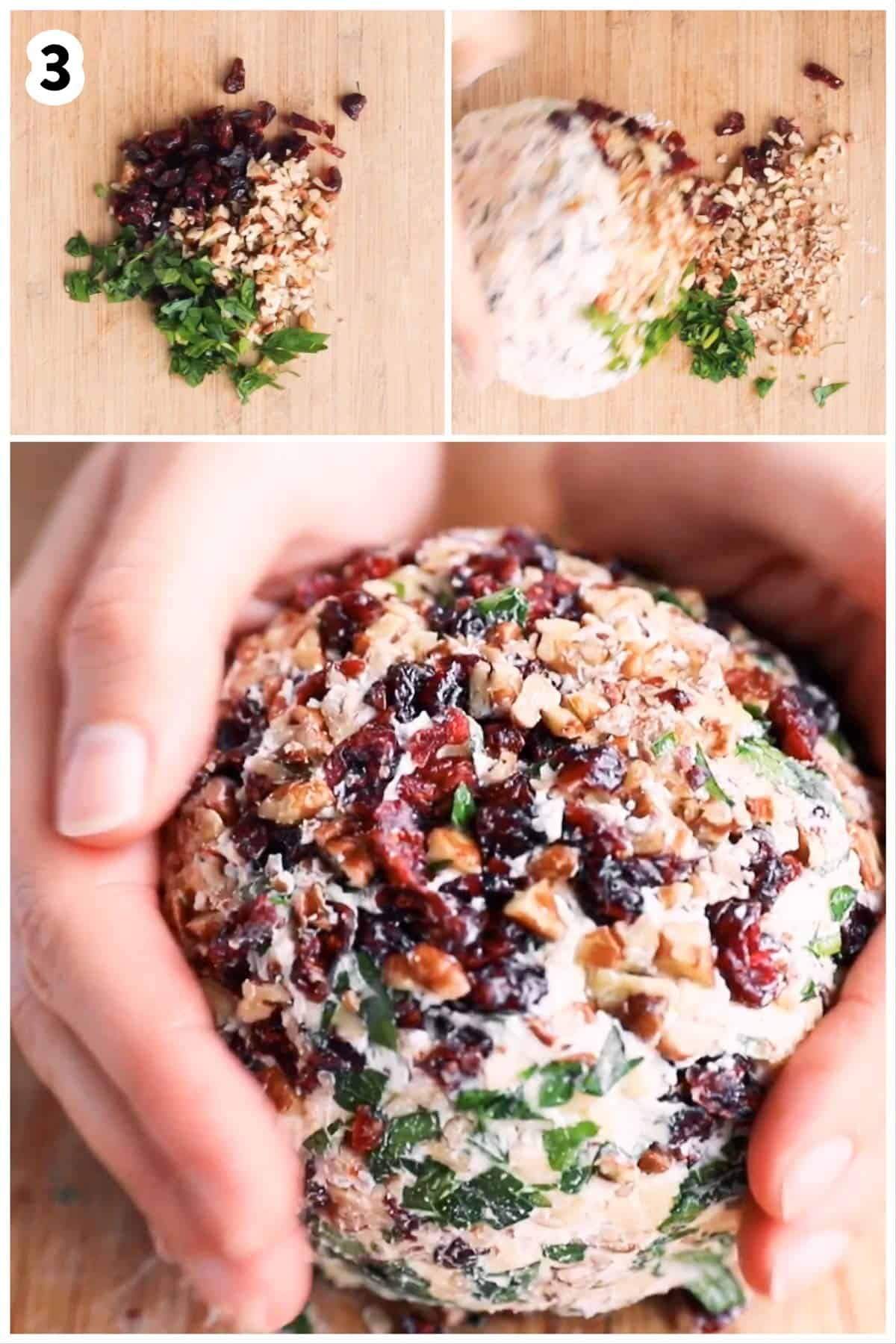 photo collage to show how to shape a cheeseball