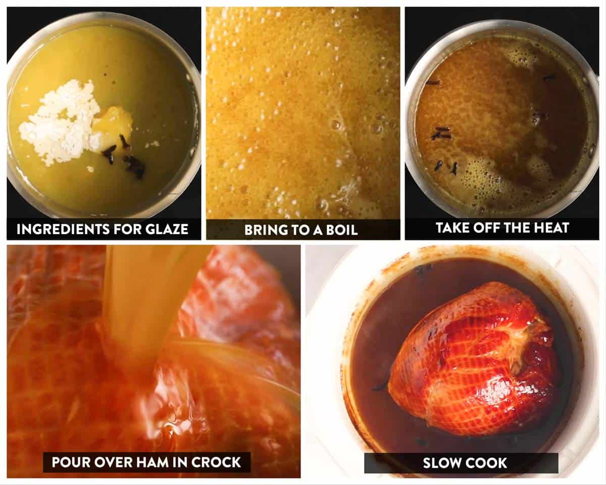 photo collage to show how to make a ham in the crockpot