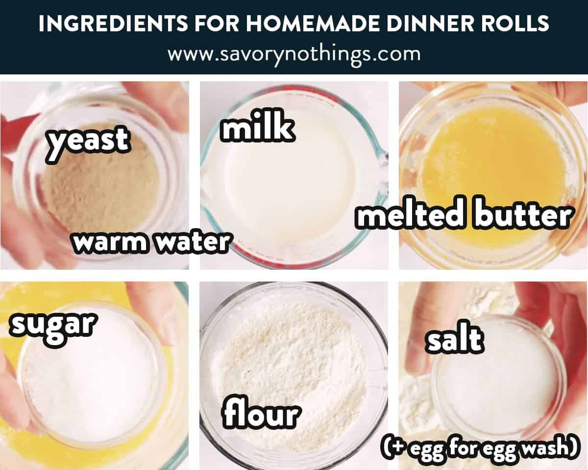ingredients for homemade dinner rolls with text labels